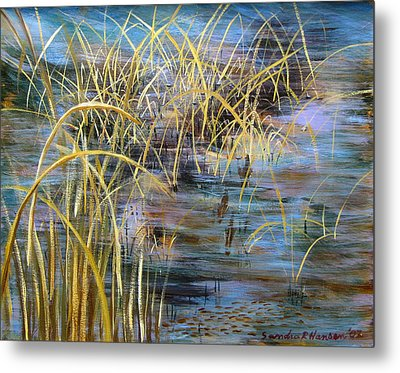 Reeds In The Water Metal Print by Art Nomad Sandra  Hansen