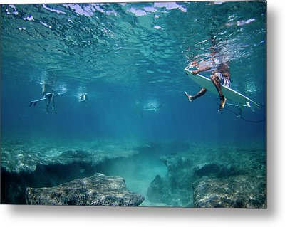Reef Surfers Metal Print by Sean Davey