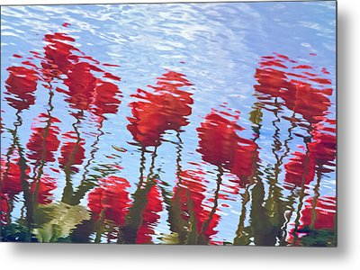Metal Print featuring the photograph Reflected Tulips by Tom Vaughan
