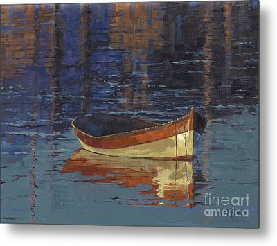 Sold Reflecting At Day's End Metal Print by Nancy  Parsons