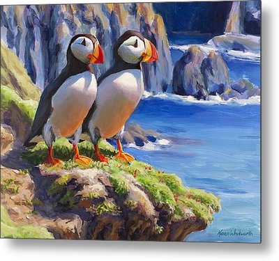 Reflecting - Horned Puffins - Coastal Alaska Landscape Metal Print by Karen Whitworth
