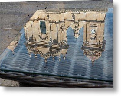 Reflecting On Noto Cathedral Saint Nicholas Of Myra - Sicily Italy Metal Print