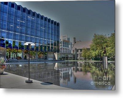 Reflecting Pond U Of C Law School Metal Print by David Bearden