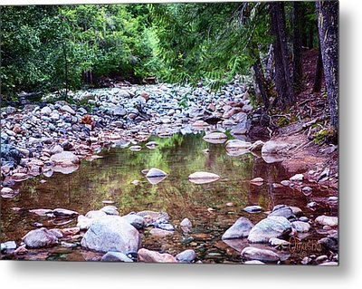 Reflecting Wilderness And Rocky Shorelines Landscape Artwork By  Metal Print by Omaste Witkowski