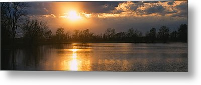 Reflection Of Sun In Water, West Metal Print by Panoramic Images