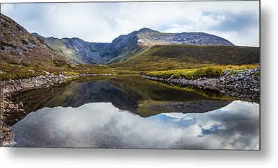 Reflection Of The Macgillycuddy's Reeks In Lough Eagher Metal Print by Semmick Photo