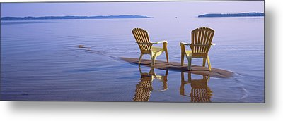 Reflection Of Two Adirondack Chairs Metal Print