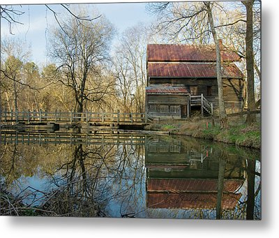 Metal Print featuring the photograph Reflection On A Grist Mill by George Randy Bass