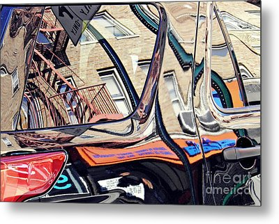 Metal Print featuring the photograph Reflection On A Parked Car 18 by Sarah Loft