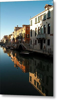 Reflection On The Cannaregio Canal In Venice Metal Print by Michael Henderson