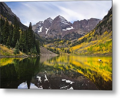 Reflections And Aspen Trees Metal Print
