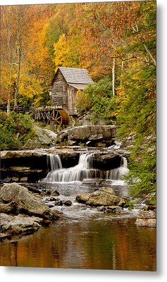 Reflections At The Glade Creek Grist Mill Metal Print