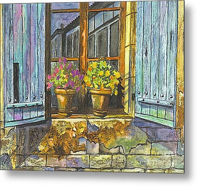 Metal Print featuring the painting Reflections In A Window by Carol Wisniewski