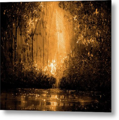 Reflections In Flame Metal Print by Ann Marie Bone