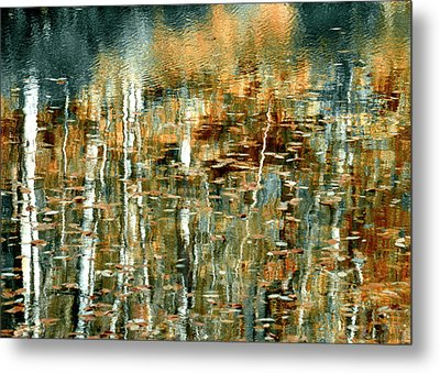 Metal Print featuring the photograph Reflections In Teal by Ann Bridges