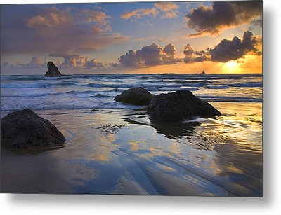 Reflections In The Sand Metal Print by Mike  Dawson