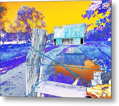 Reflections Of An Old Barn Abstract Metal Print