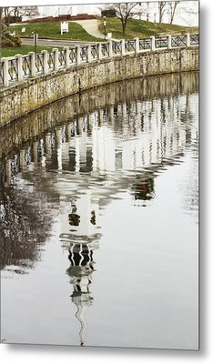 Reflections Of Church Metal Print by Karol Livote