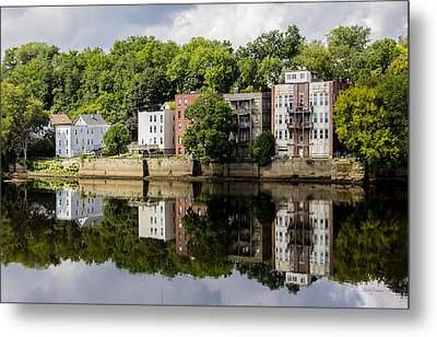 Reflections Of Haverhill On The Merrimack River Metal Print by Betty Denise