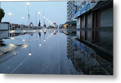 Reflections Of The Boardwalk Metal Print by Robert Banach