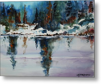 Reflections On A Frozen Pond Metal Print by Wilfred McOstrich