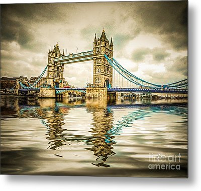 Reflections On Tower Bridge Metal Print by TK Goforth