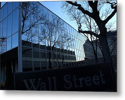 Reflections On Wall Street Metal Print by Lois Lepisto