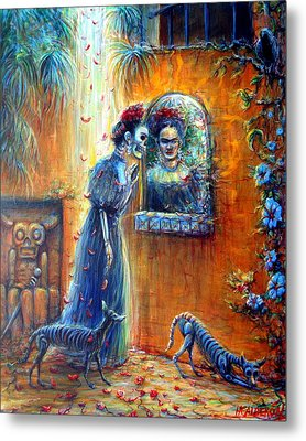 Metal Print featuring the painting Reflejo De Frida by Heather Calderon