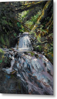 Refreshed - Rainforest Waterfall Impressionistic Painting Metal Print by Karen Whitworth