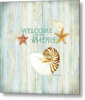Refreshing Shores - Lighthouse Starfish Nautilus Sand Dollars Over Driftwood Background Metal Print