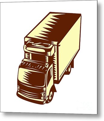 Refrigerated Truck Woodcut Metal Print