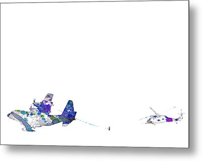 Metal Print featuring the digital art Refueling Watercolor On White by Bartz Johnson