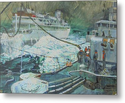 Metal Print featuring the painting Refuelling At Sea. by Mike Jeffries
