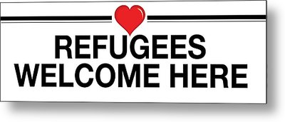 Refugees Welcome Here Metal Print