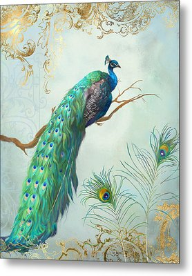 Regal Peacock 1 On Tree Branch W Feathers Gold Leaf Metal Print by Audrey Jeanne Roberts