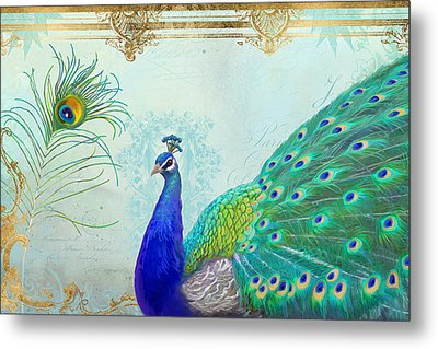 Metal Print featuring the painting Regal Peacock 2 W Feather N Gold Leaf French Style by Audrey Jeanne Roberts