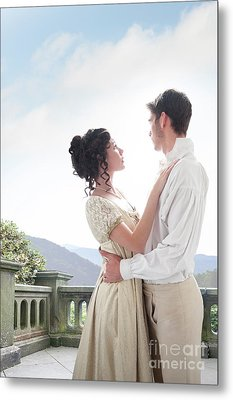 Metal Print featuring the photograph Regency Couple Embracing On The Terrace by Lee Avison
