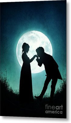 Metal Print featuring the photograph Regency Couple Silhouetted By The Full Moon by Lee Avison
