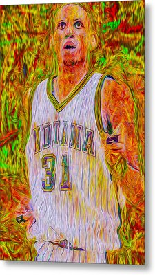 Reggie Miller Nba Indiana Pacers Basketball Digitally Painted Metal Print by David Haskett