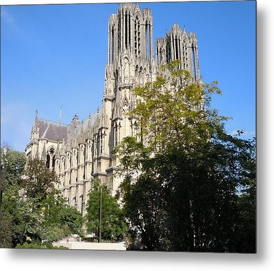 Reims Cathedral Reims France Metal Print by Marilyn Dunlap