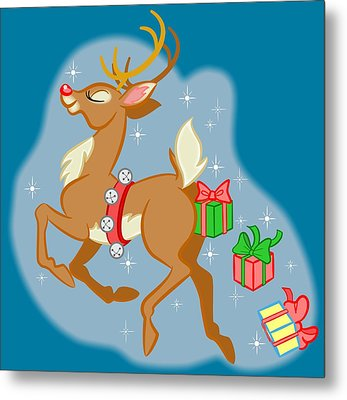 Reindeer Gifts Metal Print by J L Meadows