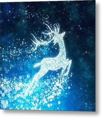 Reindeer Stars Metal Print