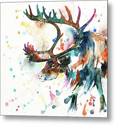 Metal Print featuring the painting Reindeer by Zaira Dzhaubaeva