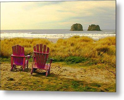 Relaxing At Rockaway Beach And Twin Rocks Metal Print by Margaret Hood