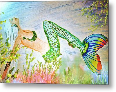 Mermaid Relaxing In The Shallows Metal Print by ARTography by Pamela Smale Williams
