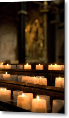 Metal Print featuring the photograph Religion - Candlelight - Cathedral Of Trier - Christian Church In Antiquity by Urft Valley Art