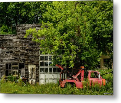 Remains Of An Old Tow Truck And Garage Metal Print by Ken Morris