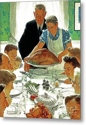 Metal Print featuring the photograph Remastered Art Freedom From Want By Norman Rockwell 20170409 by Wingsdomain Art and Photography