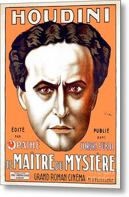 Metal Print featuring the photograph Remastered Nostagic Vintage Poster Art Houdini Master Of Mystery by Wingsdomain Art and Photography