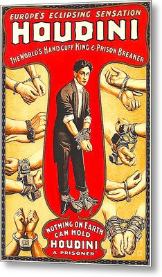 Metal Print featuring the photograph Remastered Nostagic Vintage Poster Art Houdini The Worlds Handcuff King 20170415 by Wingsdomain Art and Photography